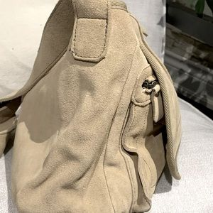 Beige White Suede French Connection Messenger Bag